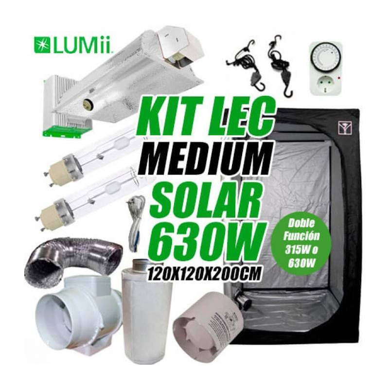 Kit LEC Medium Solar LUMii 630w + Armario de Cultivo