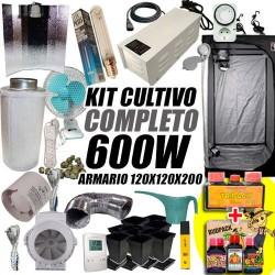 KIT CULTIVO INTERIOR COMPLETO 600W ARMARIO 120X120X200CM